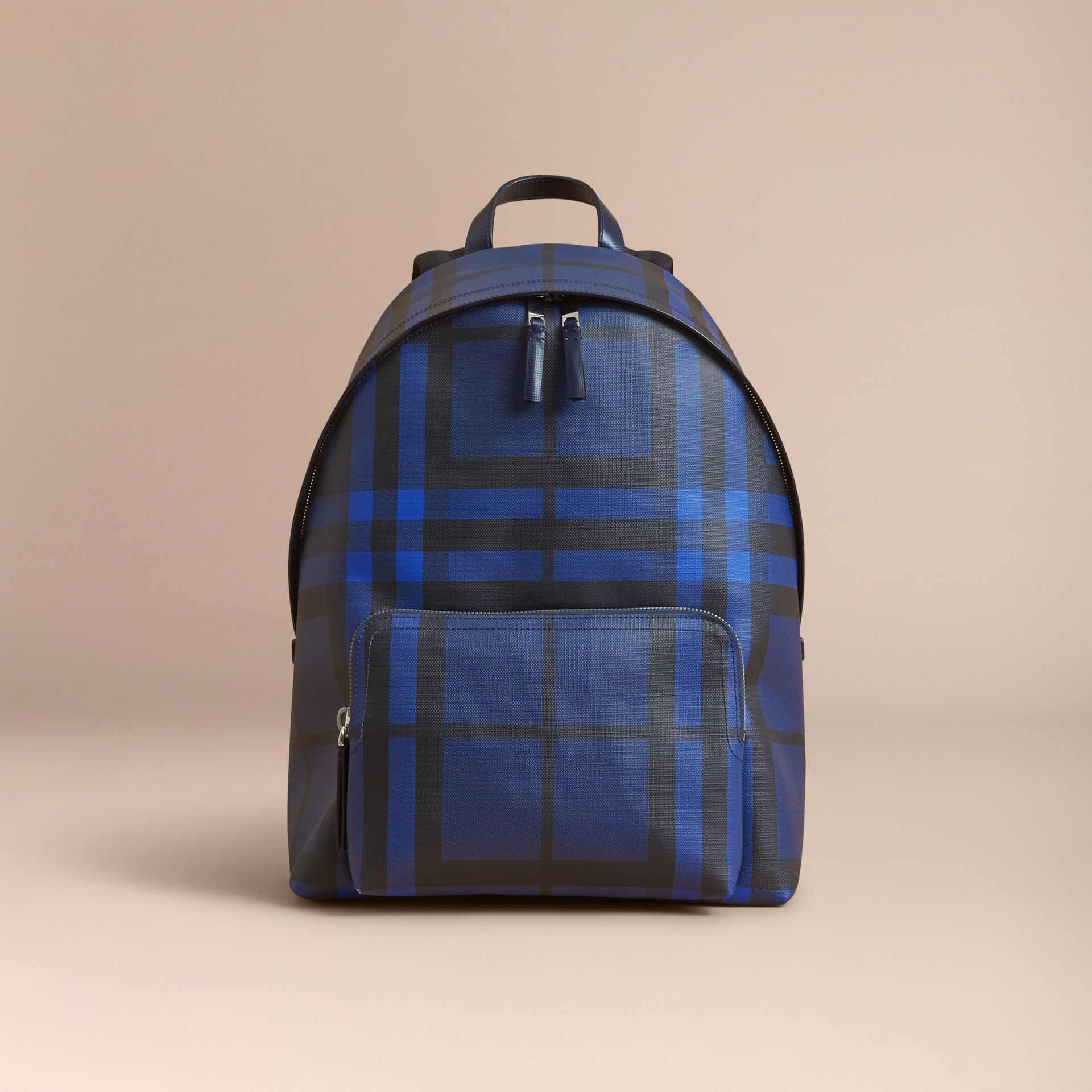 Leather Trim London Check Backpack in Bright Lapis - Men | Burberry - gallery image 7