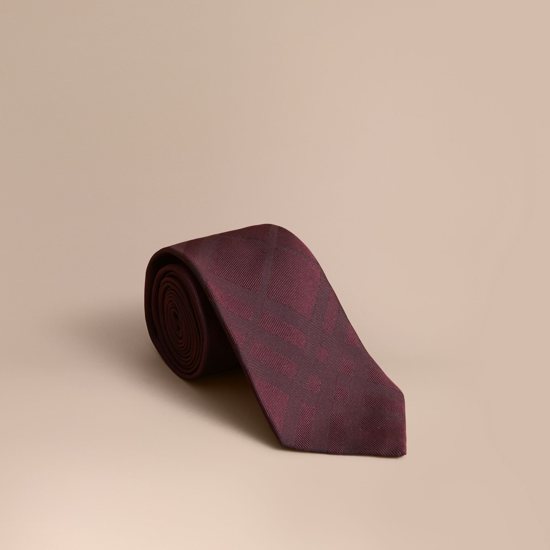Classic Cut Check Silk Jacquard Tie in Deep Claret - Men | Burberry United Kingdom - gallery image 0
