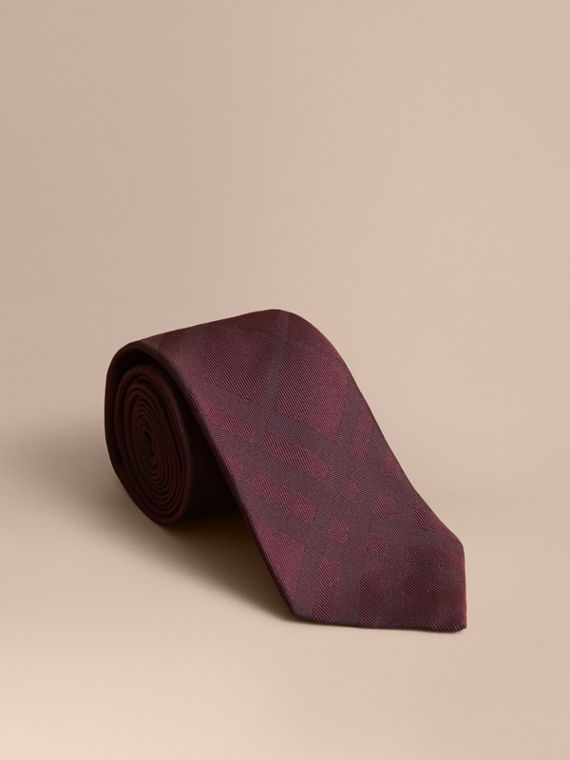Classic Cut Check Silk Jacquard Tie in Deep Claret