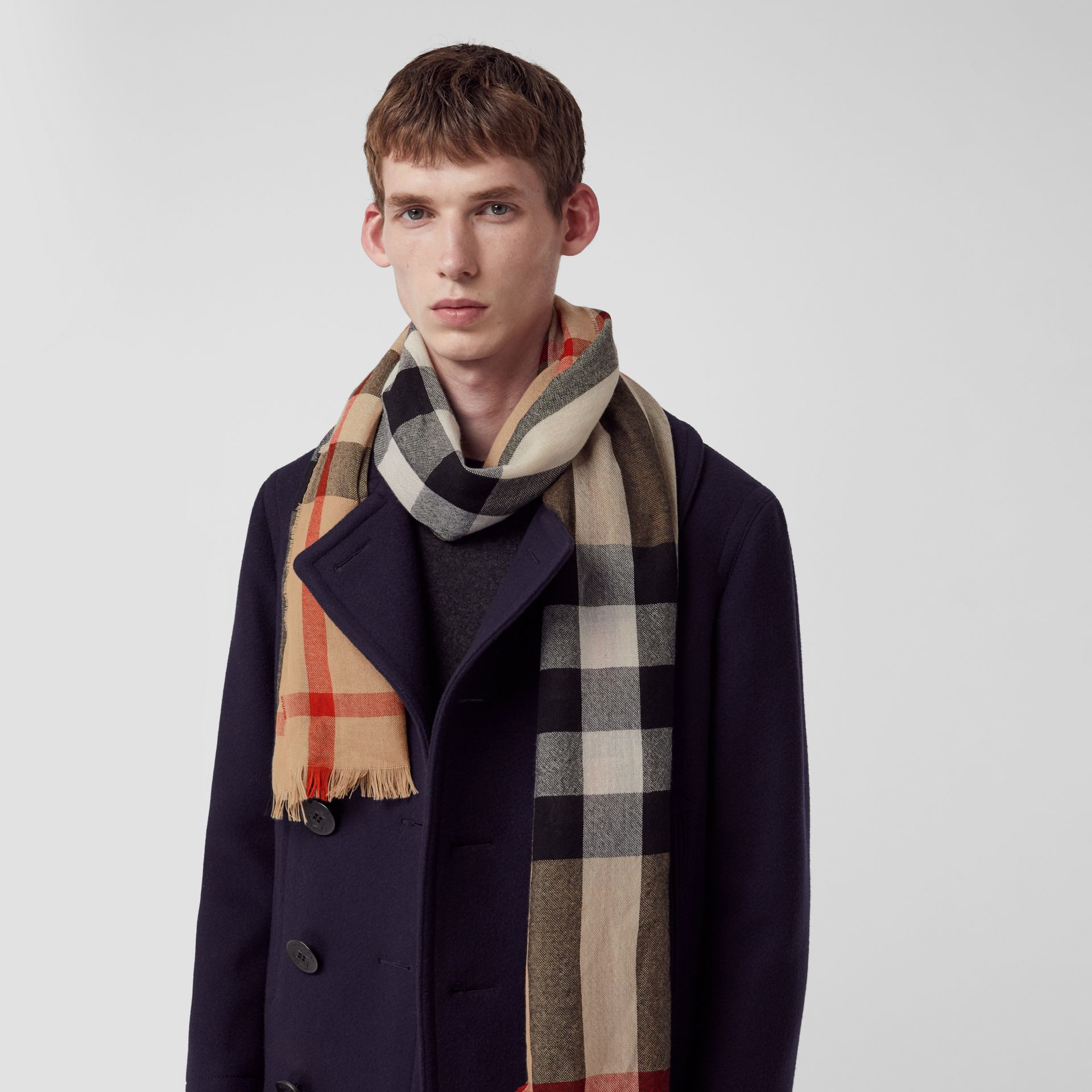 Lightweight Check Wool Cashmere Scarf in Camel | Burberry - gallery image 5