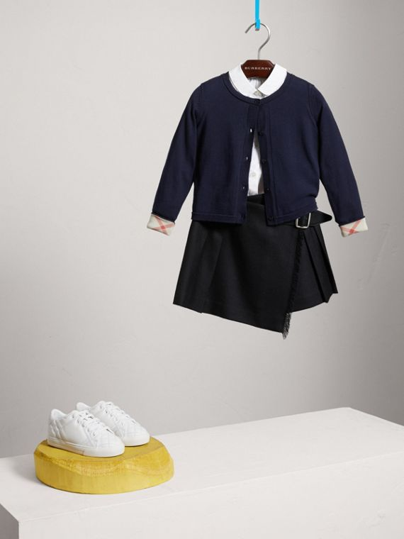 Check Cuff Cotton Knit Cardigan in Navy - Girl | Burberry United States - cell image 2
