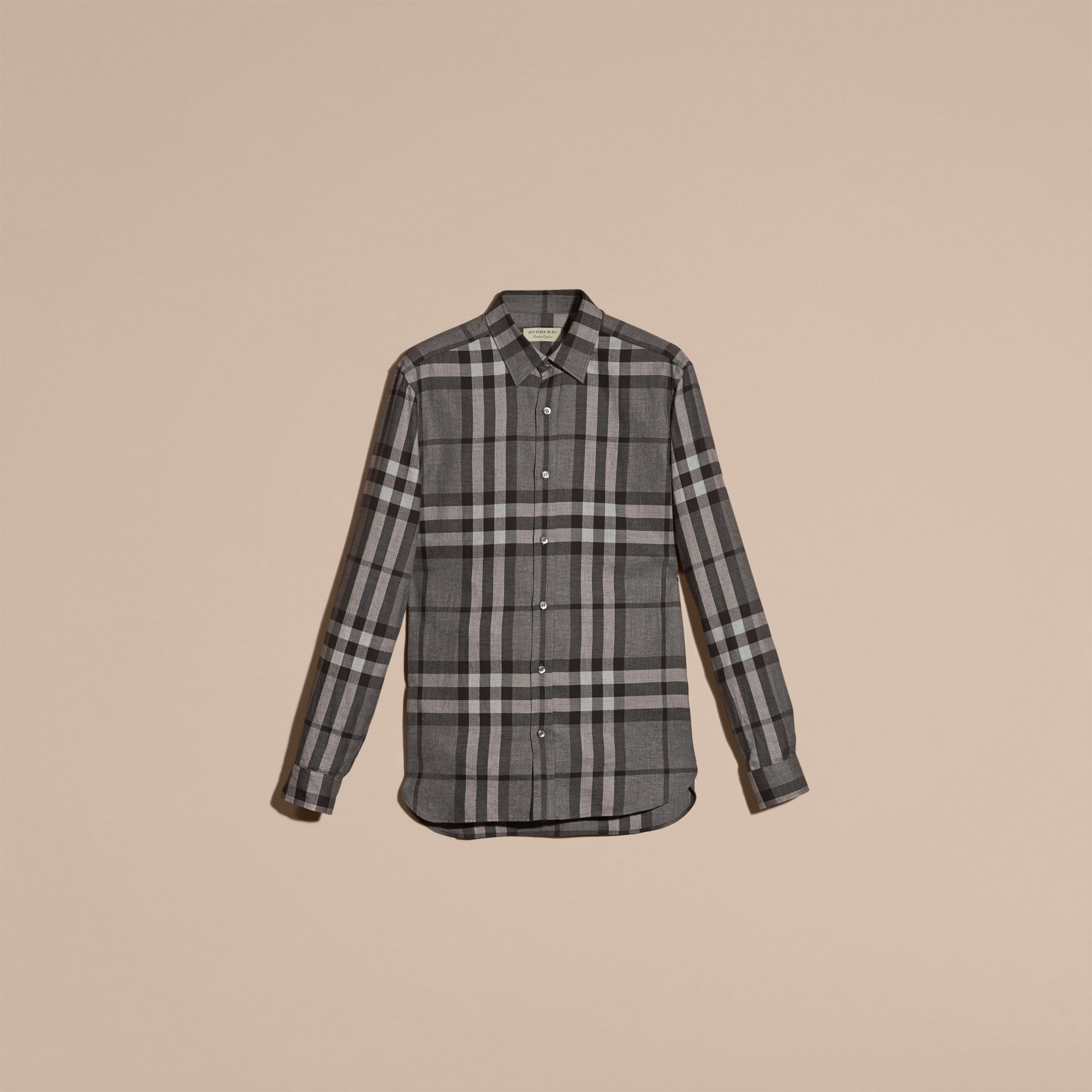 Mid grey melange Check Cotton Cashmere Flannel Shirt Mid Grey Melange - gallery image 4