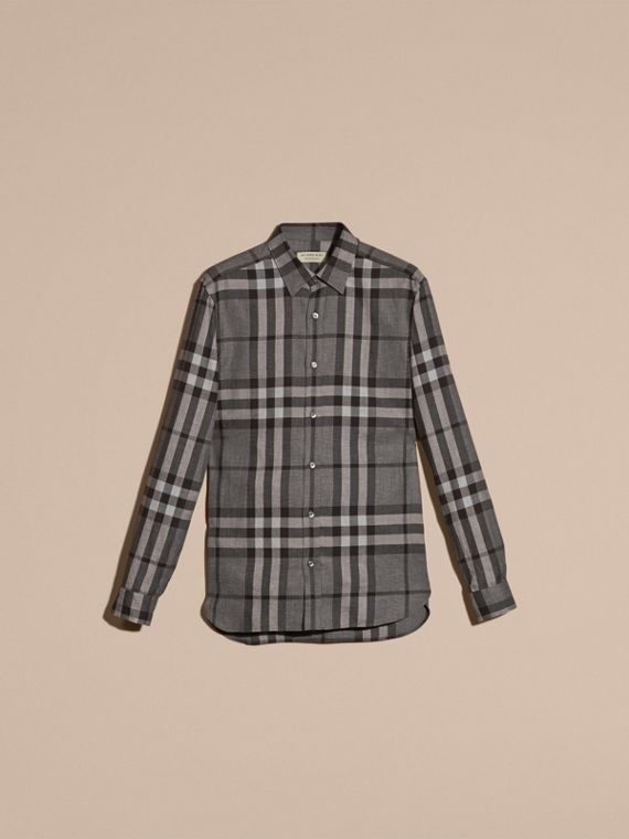 Check Cotton Cashmere Flannel Shirt in Mid Grey Melange - cell image 3
