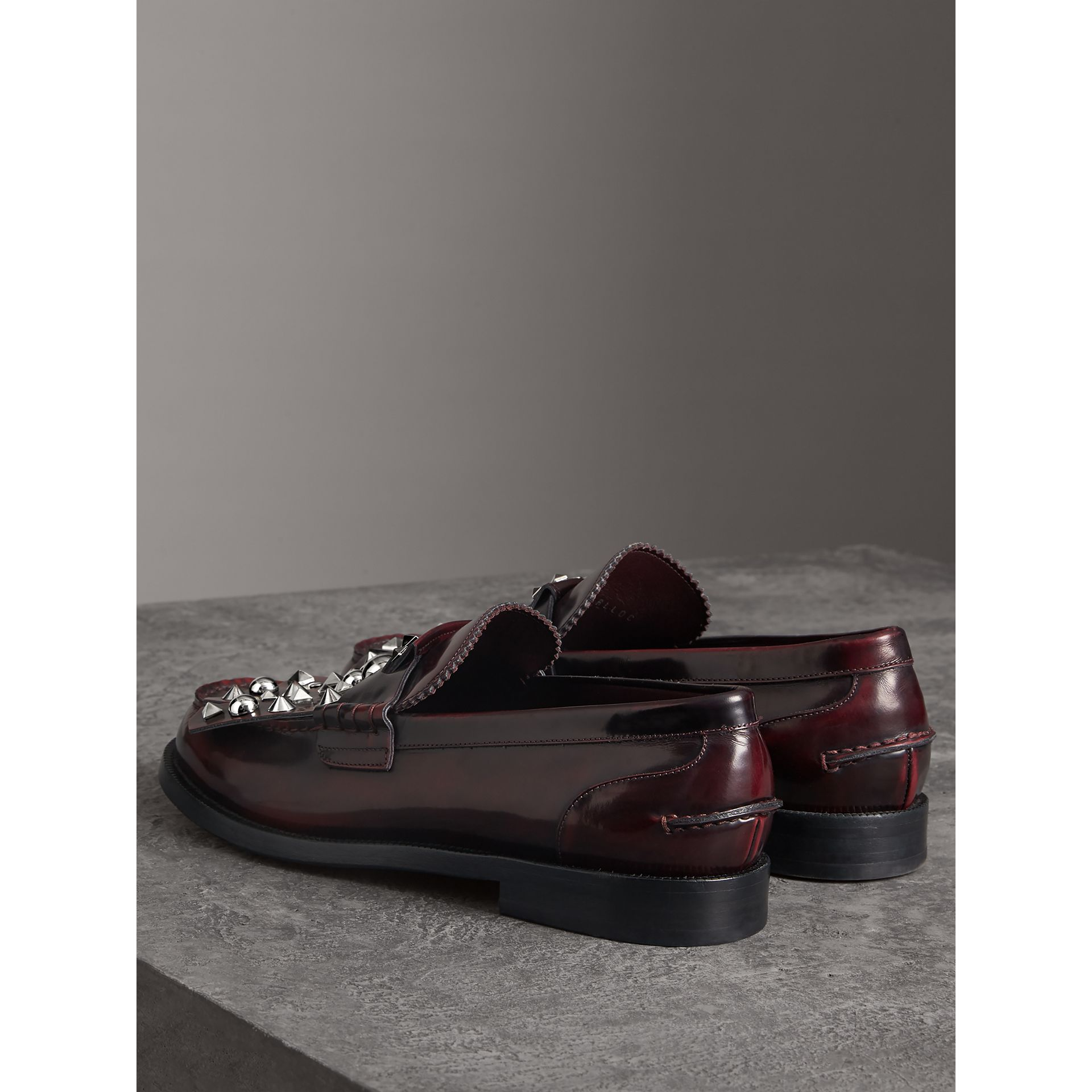 Stud Detail Kiltie Fringe Leather Loafers in Bordeaux - Men | Burberry - gallery image 3