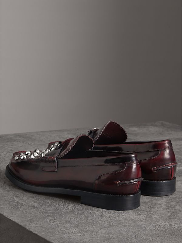 Stud Detail Kiltie Fringe Leather Loafers in Bordeaux - Men | Burberry - cell image 3