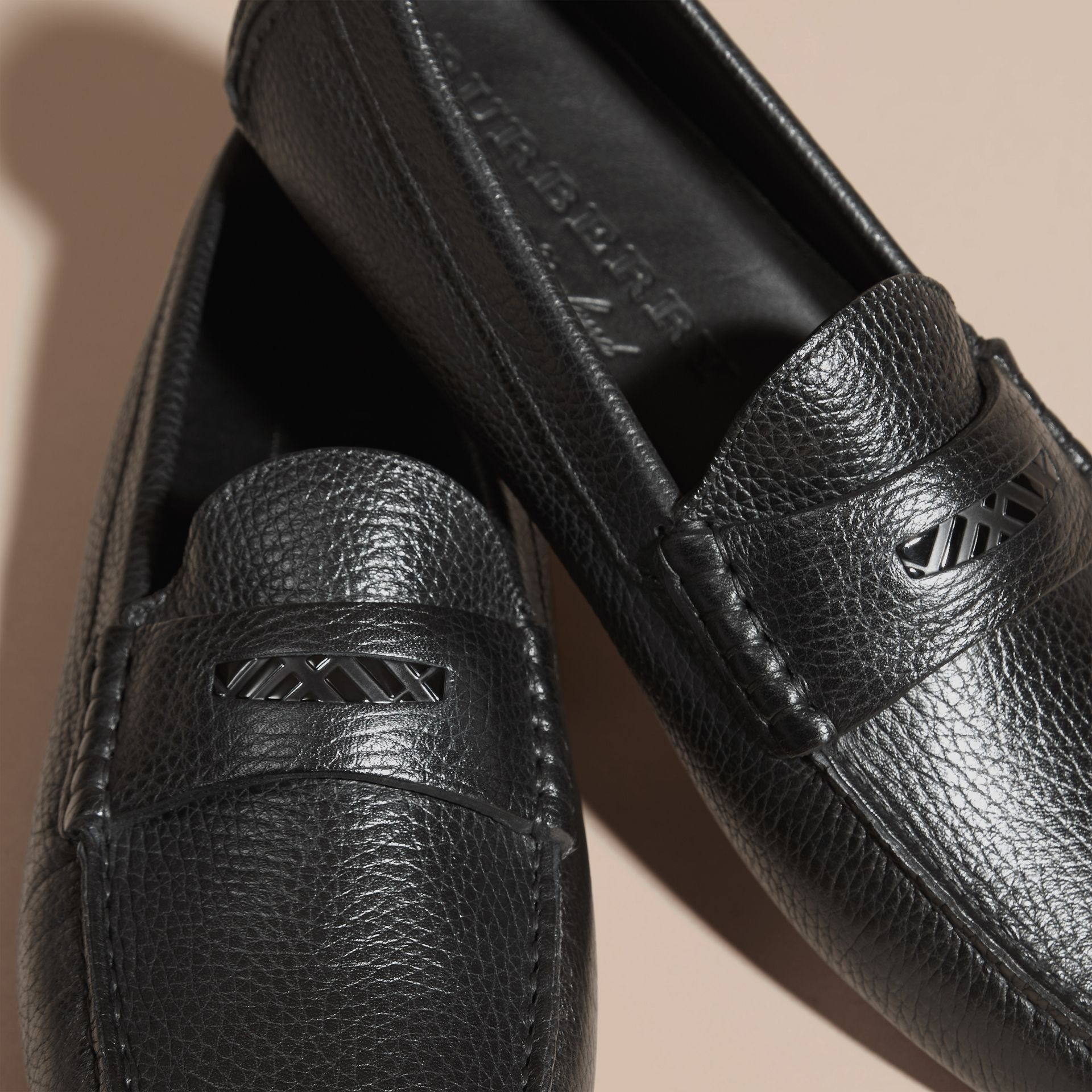 Black Grainy Leather Loafers with Engraved Check Detail Black - gallery image 2