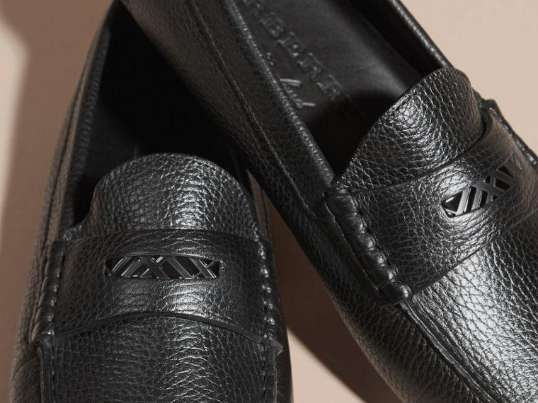Black Grainy Leather Loafers with Engraved Check Detail Black - cell image 1