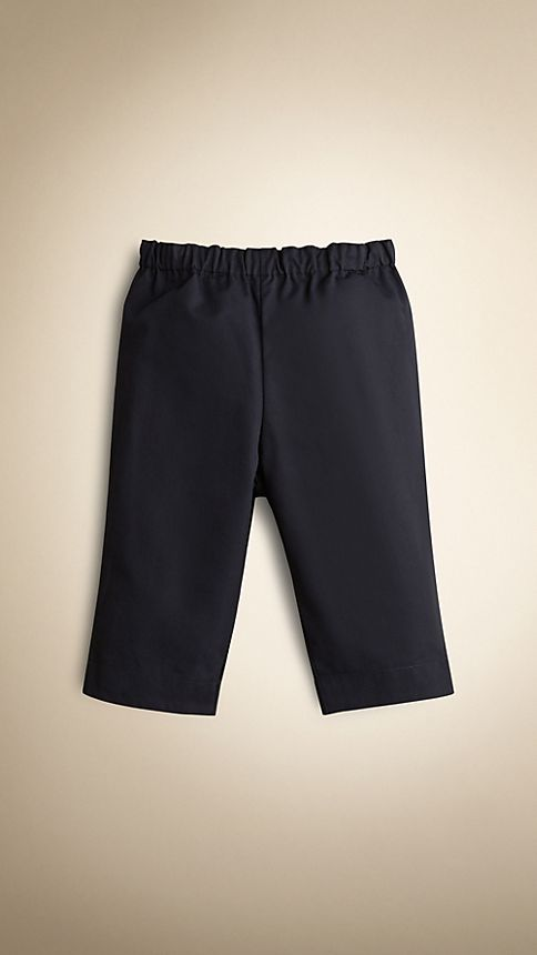 Ink Check Turn-Up Cotton Trousers - Image 1