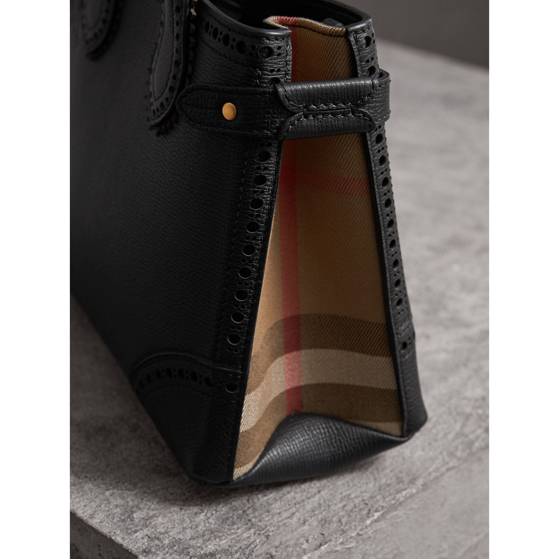 The Small Banner in Brogue Detail Leather in Black - Women | Burberry - gallery image 1
