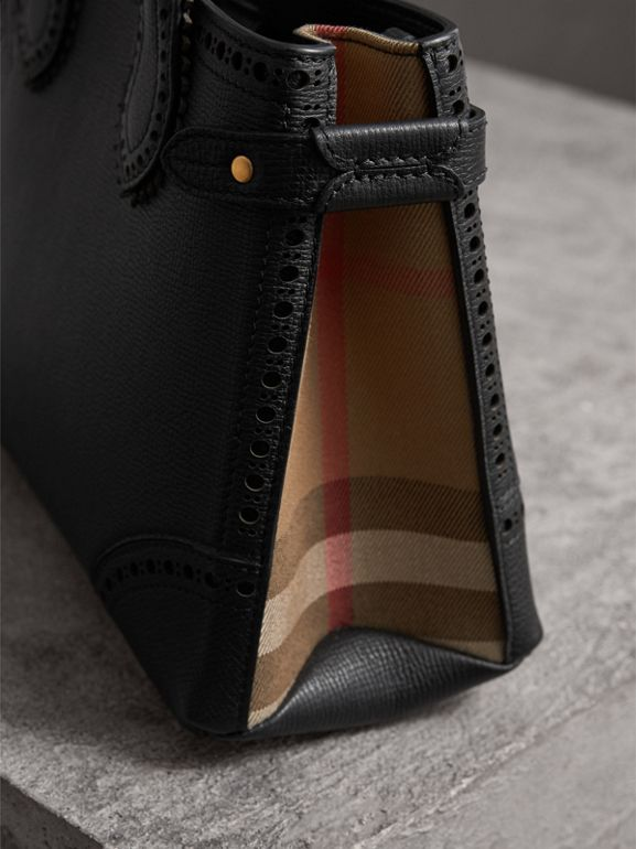 The Small Banner in Brogue Detail Leather in Black - Women | Burberry - cell image 1