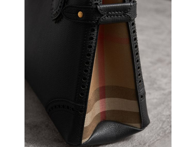 The Small Banner in Brogue Detail Leather in Black - Women | Burberry Singapore - cell image 1