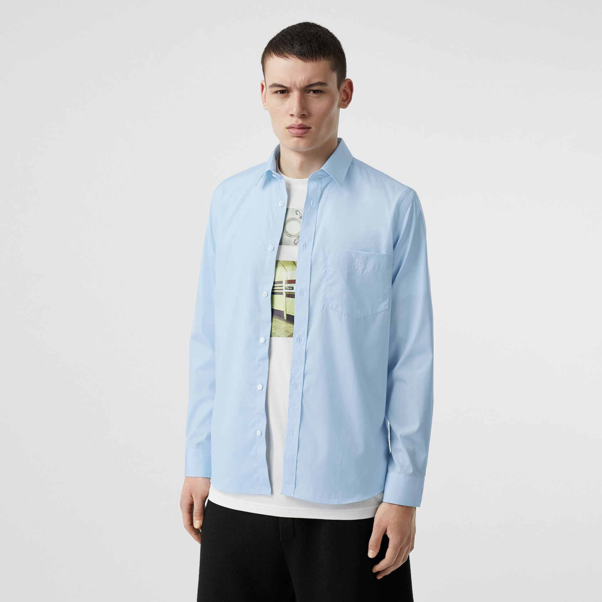 Monogram Motif Stretch Cotton Poplin Shirt in Pale Blue - Men | Burberry - gallery image 4
