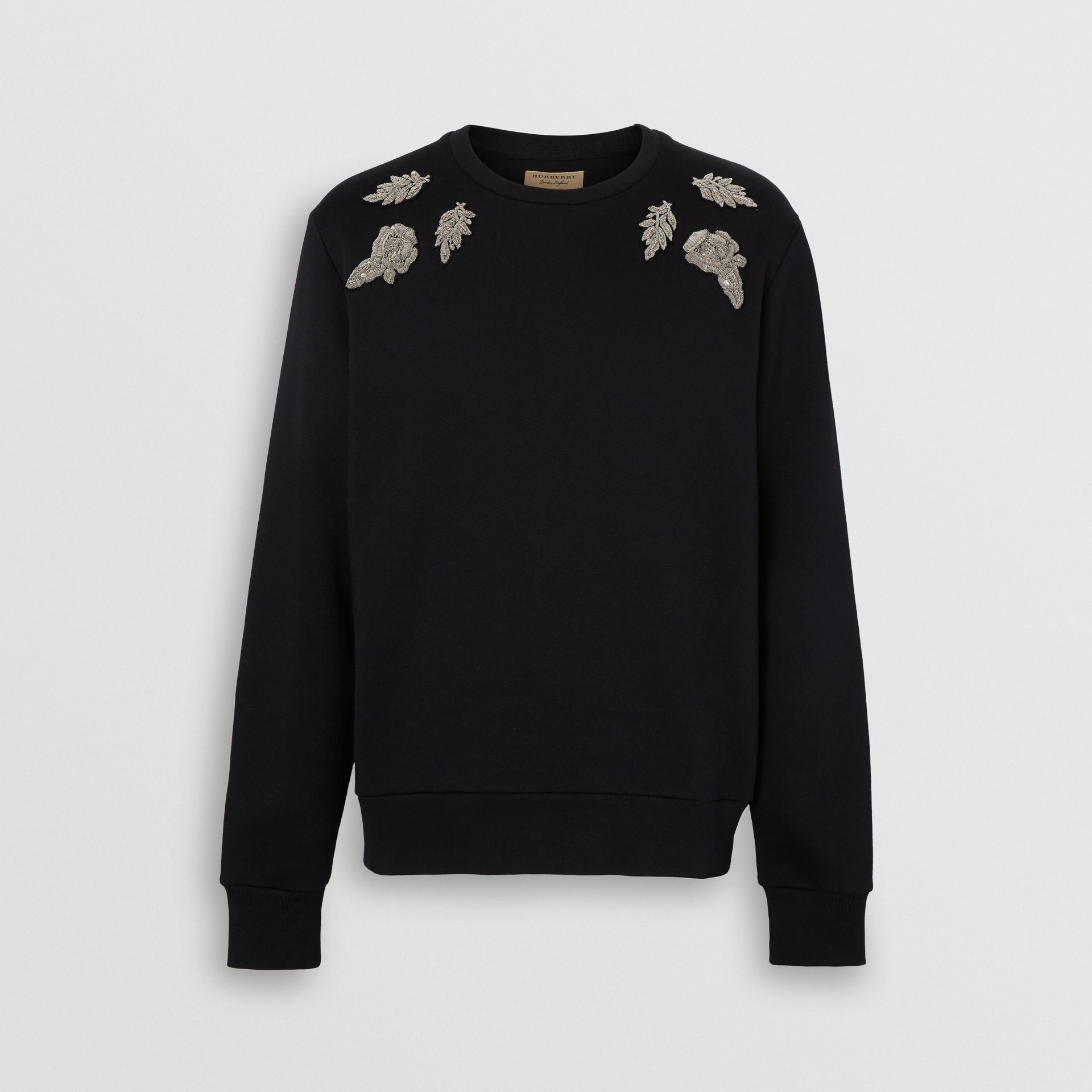 Bullion Floral Cotton Blend Sweatshirt in Black - Men | Burberry - gallery image 3