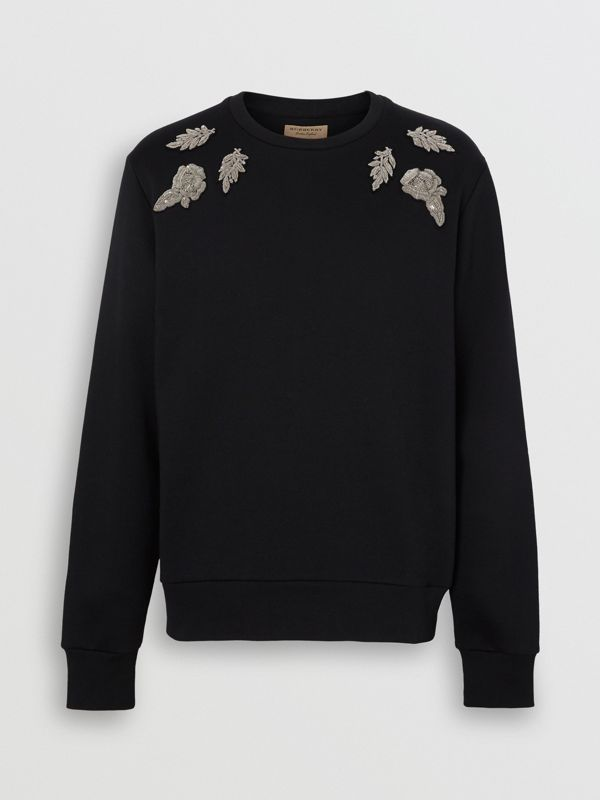 Bullion Floral Cotton Blend Sweatshirt in Black - Men | Burberry Australia - cell image 3