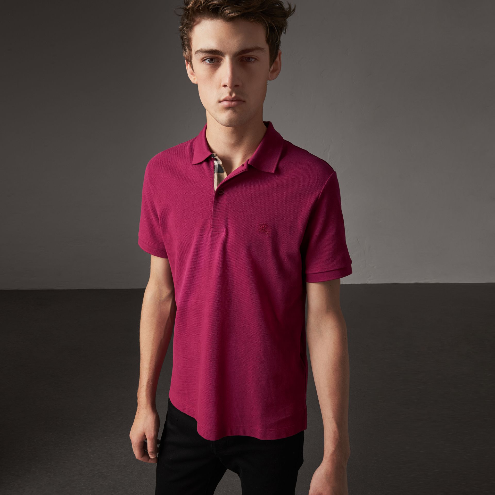 Check Placket Cotton Piqué Polo Shirt in Raspberry Sorbet - Men | Burberry - gallery image 0