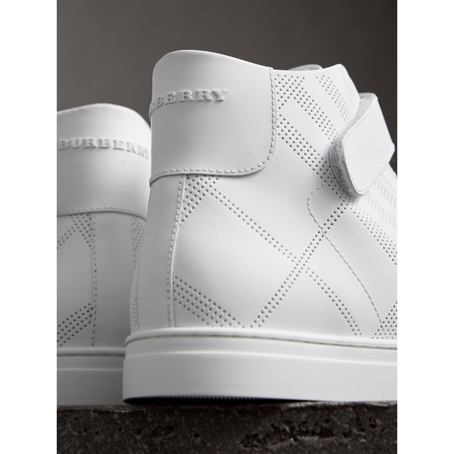 Perforated Check Leather High-top Trainers in Optic White - Men | Burberry - gallery image 2