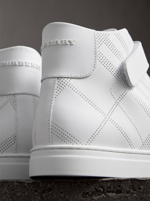 Perforated Check Leather High-top Sneakers in Optic White - Men | Burberry Australia - cell image 1
