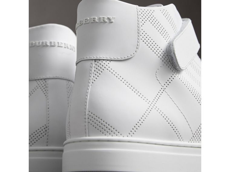 Perforated Check Leather High-top Trainers in Optic White - Men | Burberry - cell image 1