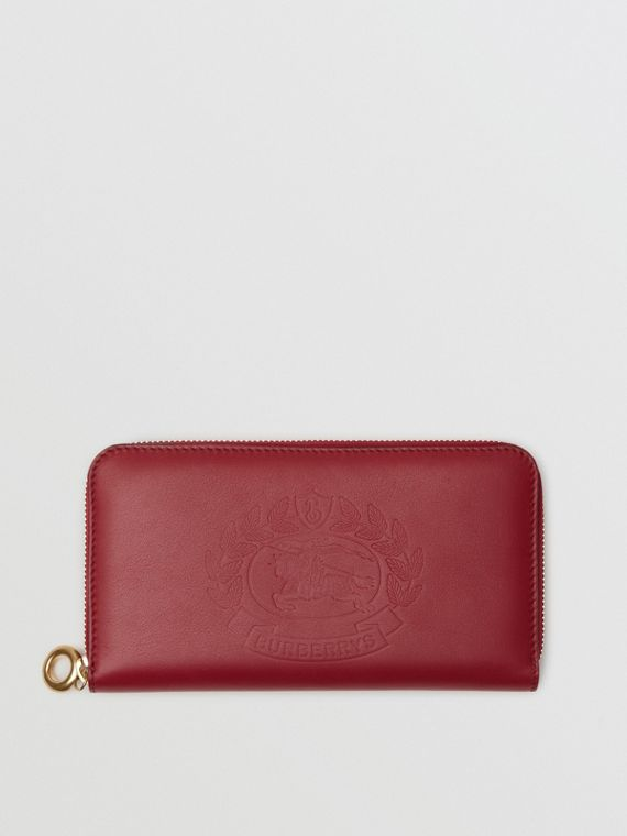 Embossed Crest Two-tone Leather Ziparound Wallet in Crimson