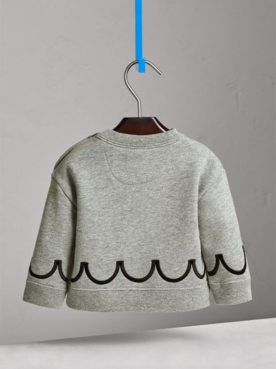 Scallop Detail Cotton Jersey Sweatshirt in Grey Melange | Burberry - cell image 3