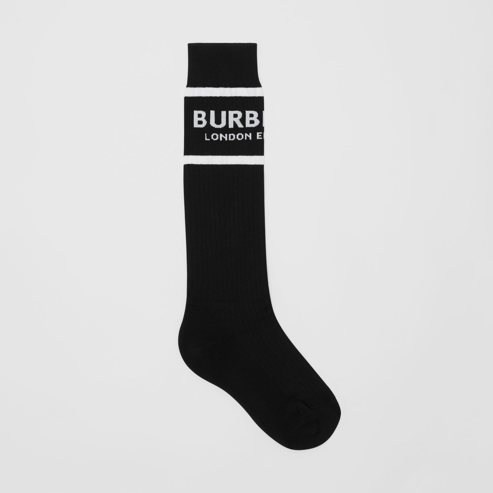 Logo Intarsia Cotton Blend Socks in Black | Burberry - gallery image 0