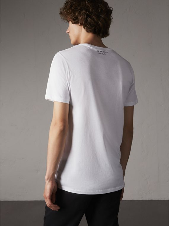 Beasts Jacquard Pocket Detail Cotton T-shirt in White - Men | Burberry - cell image 2