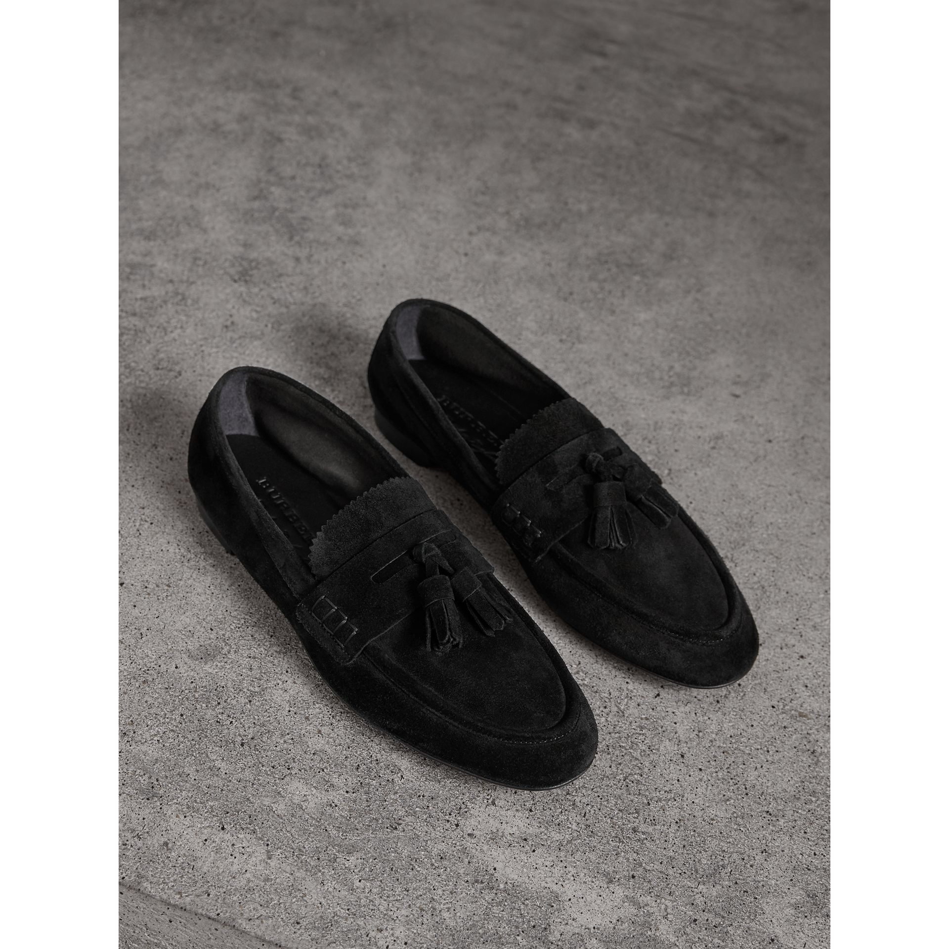 Tasselled Suede Loafers in Black - Women | Burberry United Kingdom - gallery image 0