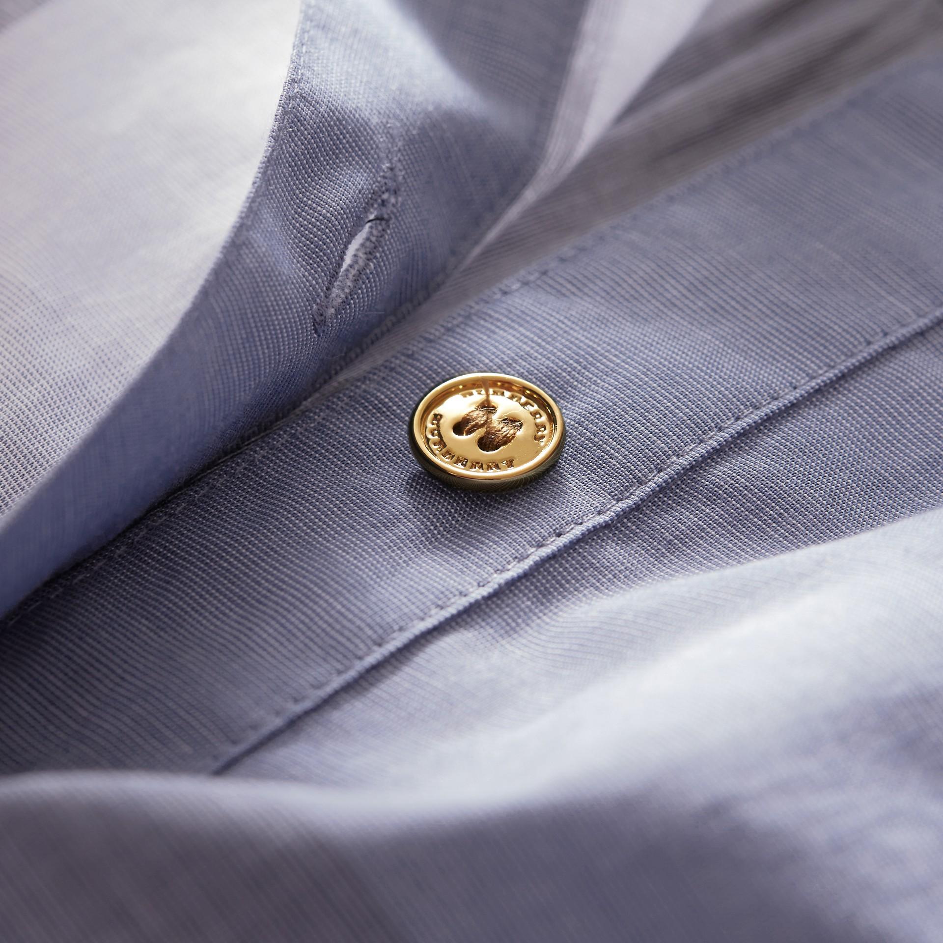 Tie-waist Check Cotton Shirt Dress - gallery image 2