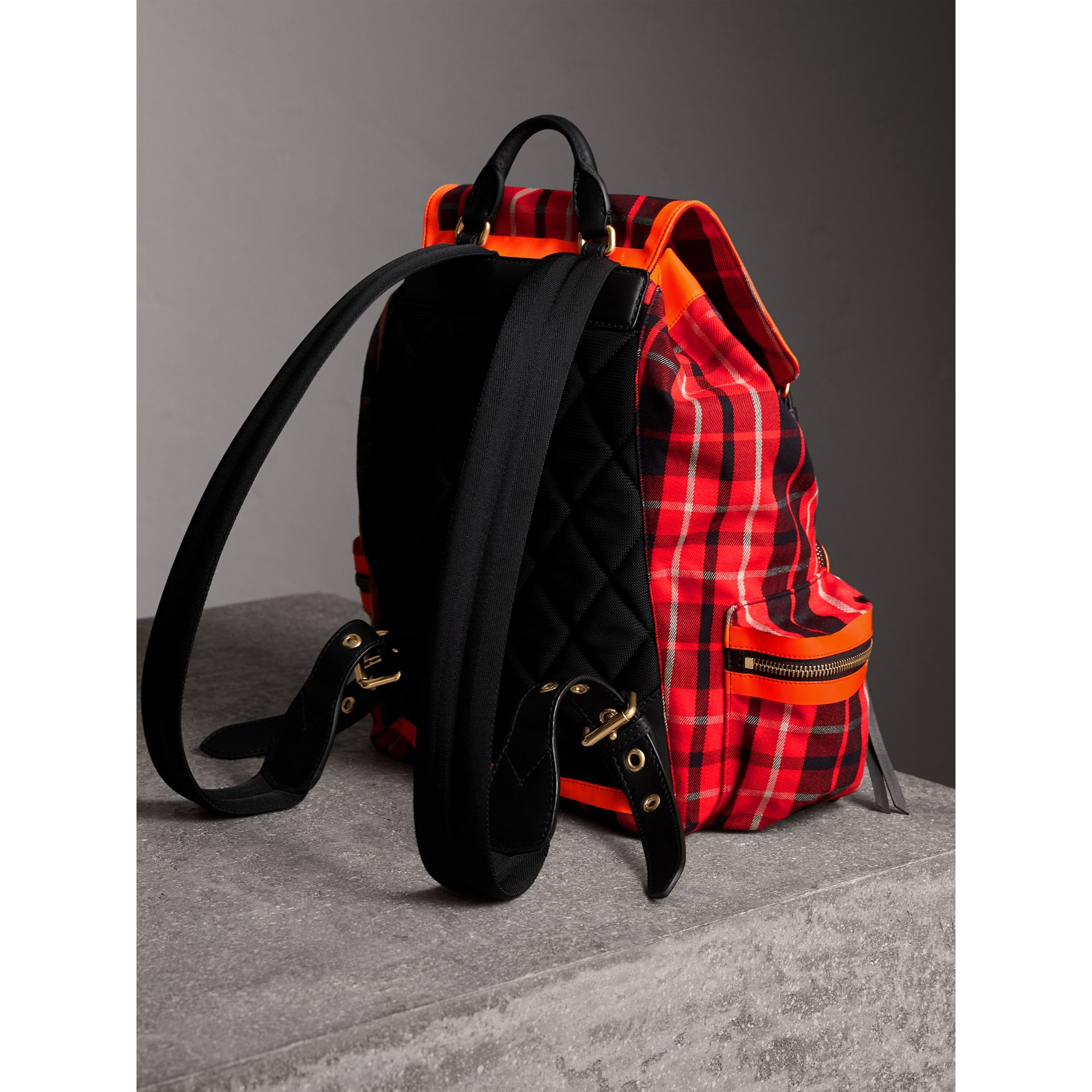 The Large Rucksack in Tartan Check Cotton in Vibrant Red | Burberry Canada - gallery image 3