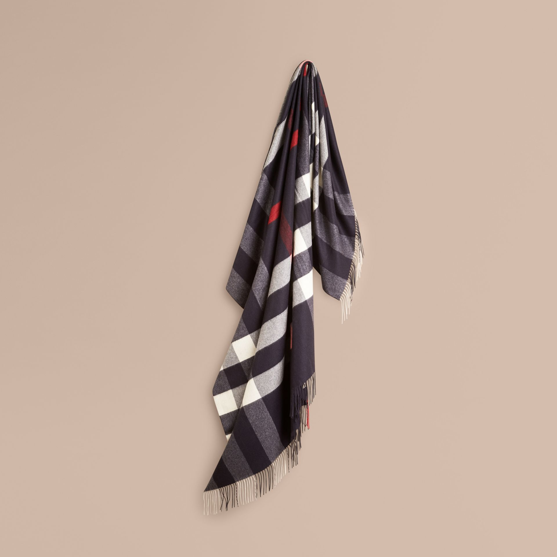 Navy Check Cashmere Blanket Navy - gallery image 1