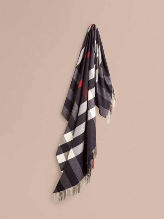 Check Cashmere Blanket in Navy | Burberry