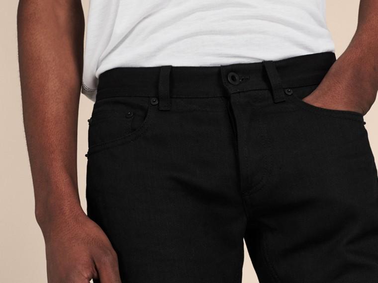 Preto Calças de tecido jeans japonês com corte slim Preto - cell image 4