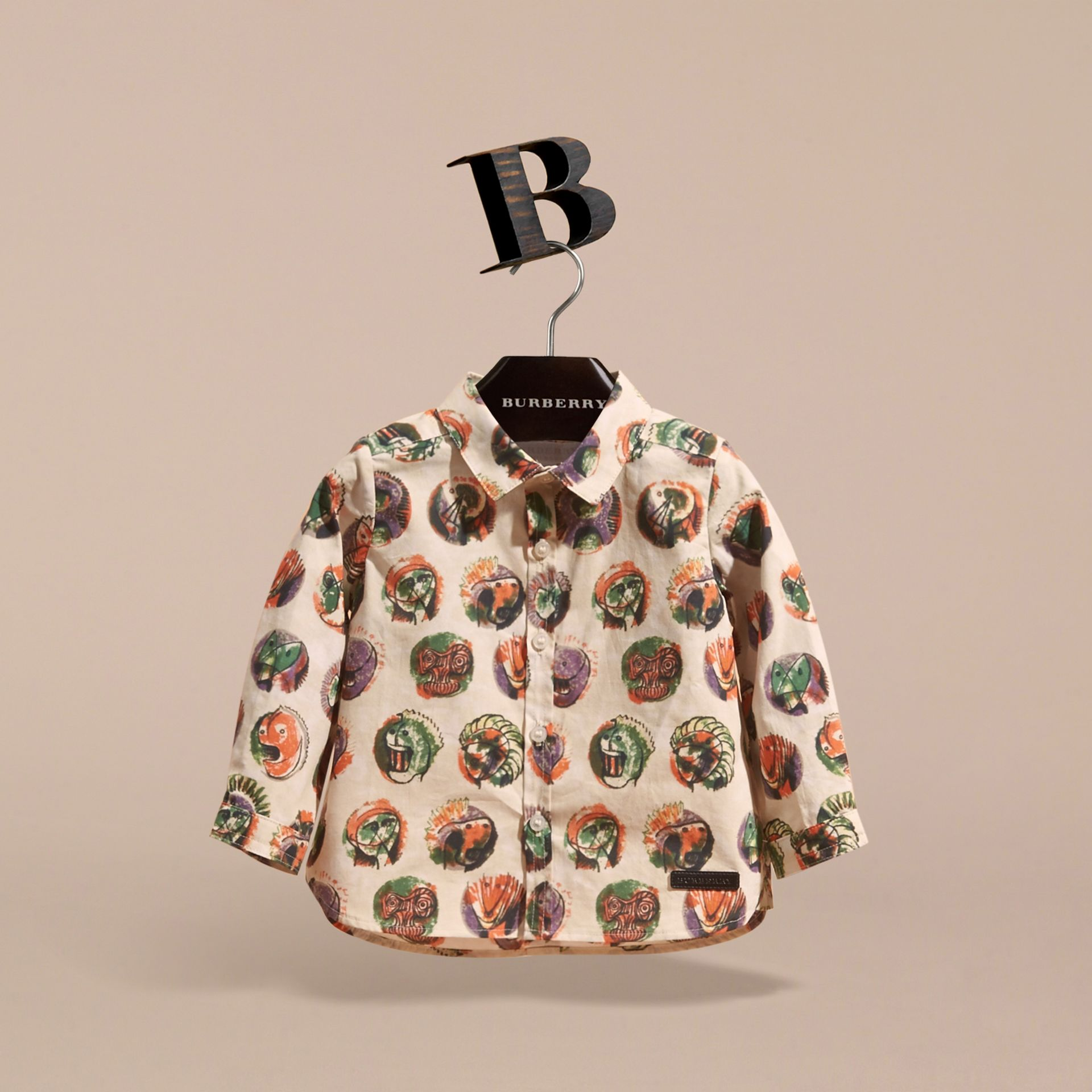 Pallas Heads Print Cotton Shirt in Natural White | Burberry - gallery image 3