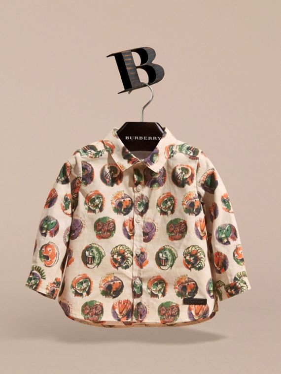 Pallas Heads Print Cotton Shirt in Natural White | Burberry - cell image 2