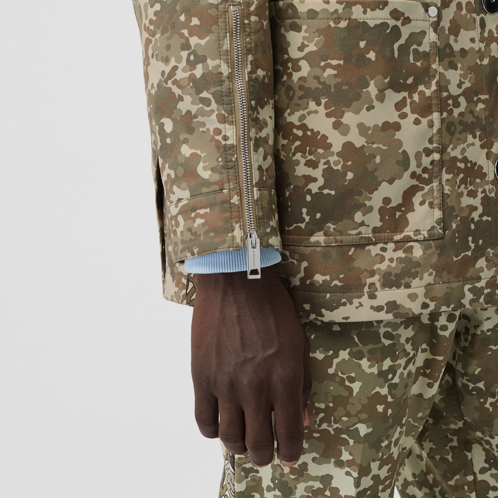 Camouflage Print Cotton Gabardine Field Jacket in Khaki Green - Men | Burberry - gallery image 4