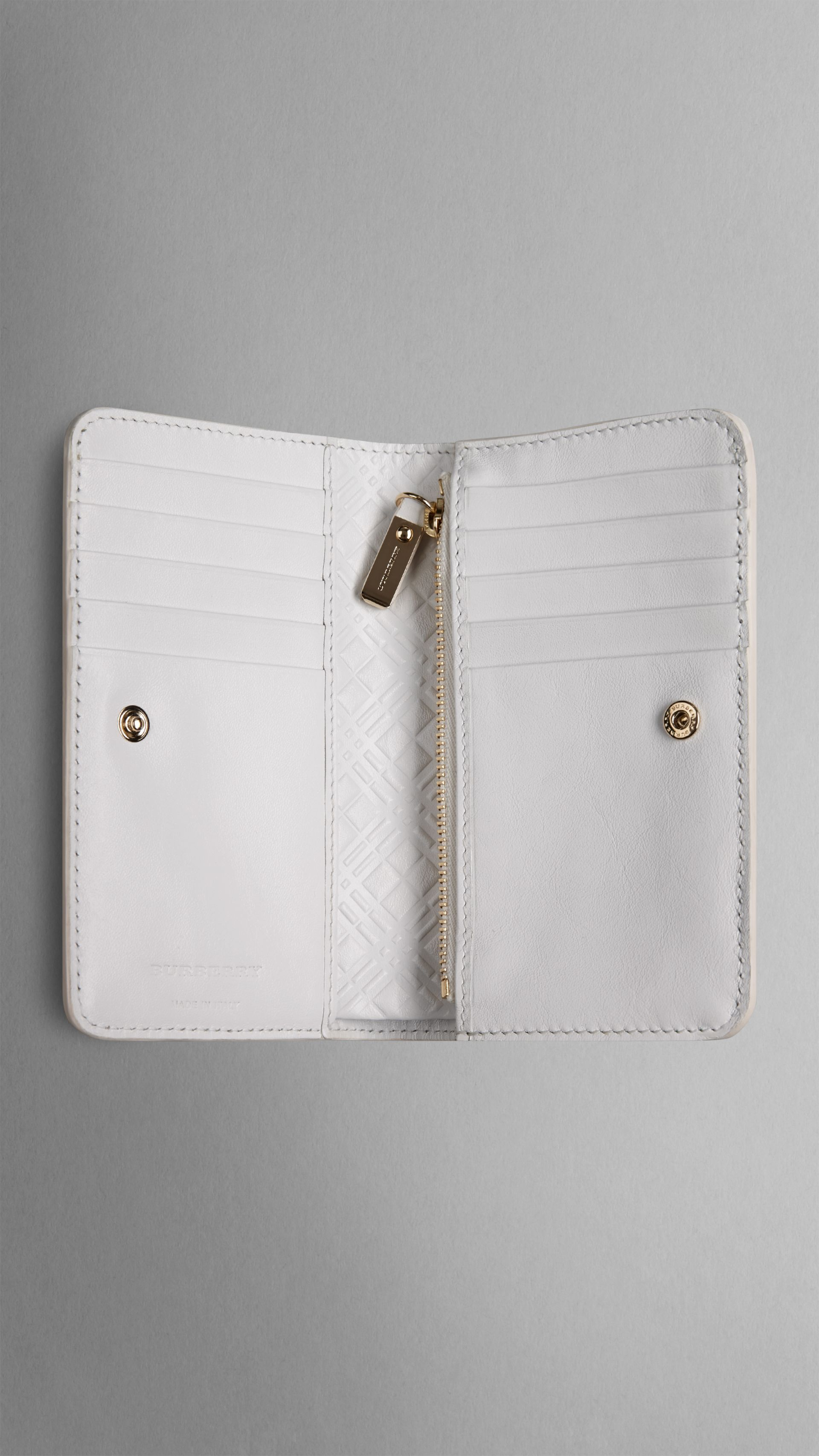 39aedbadead4 Patent London Leather Continental Wallet in White