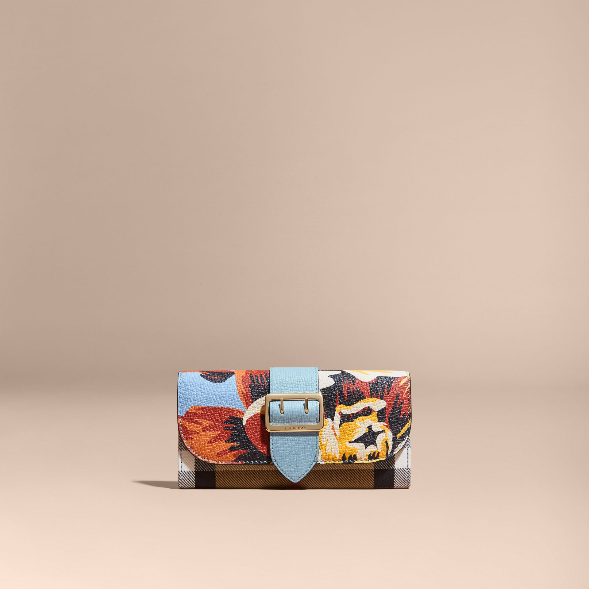 Peony Rose Print and House Check Continental Wallet in Pale Blue/vibrant Orange - gallery image 6
