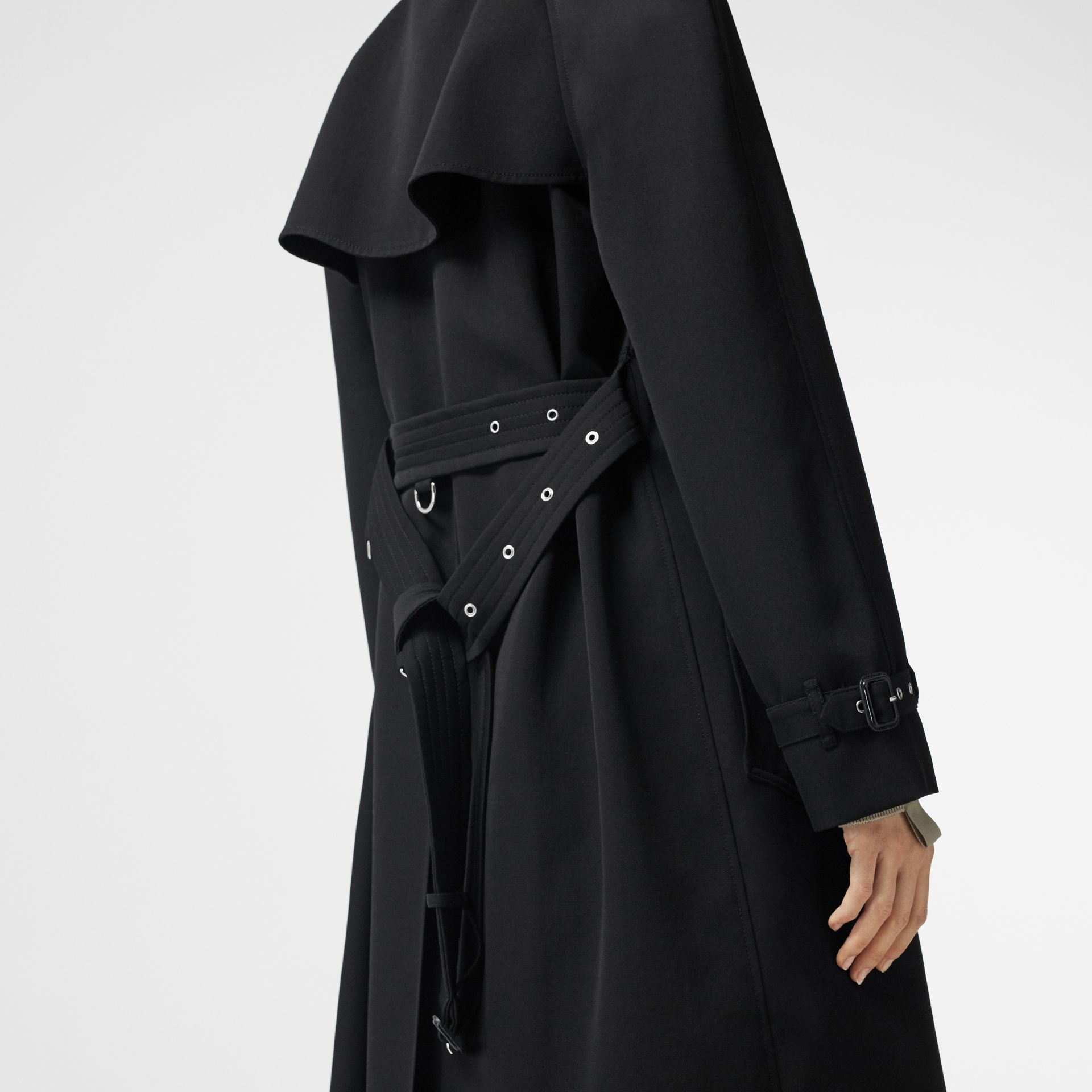 Wool Gabardine Trench Coat with Detachable Warmer in Black - Women | Burberry - gallery image 8