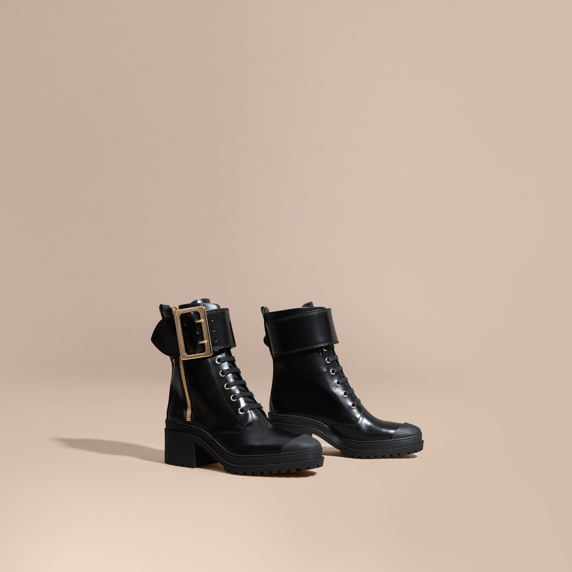 Black Leather Buckle Detail Boots Black - gallery image 1