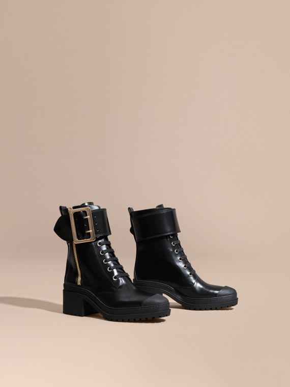 Leather Buckle Detail Boots Black