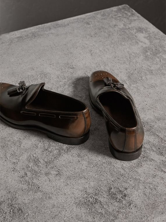 Tasselled Patent Leather Loafers in Chocolate Brown - Men | Burberry - cell image 2