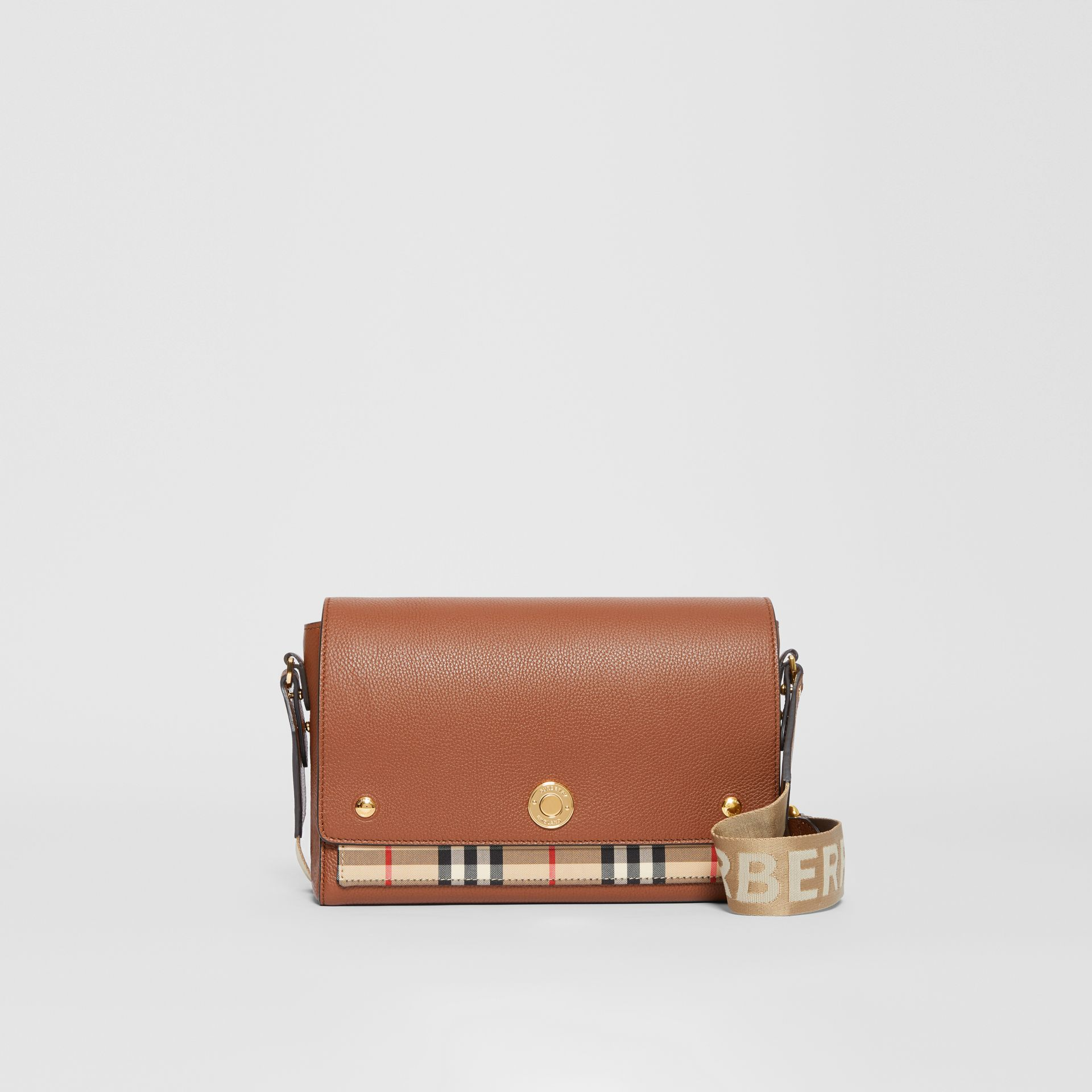 Leather and Vintage Check Note Crossbody Bag in Tan - Women | Burberry Canada - gallery image 0