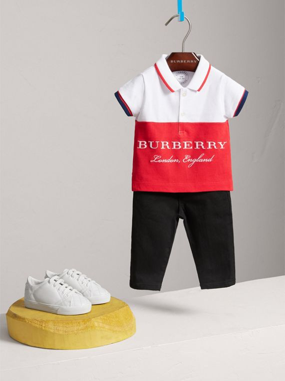 Tipped Cotton Piqué Polo Shirt in Bright Orange Red | Burberry - cell image 2