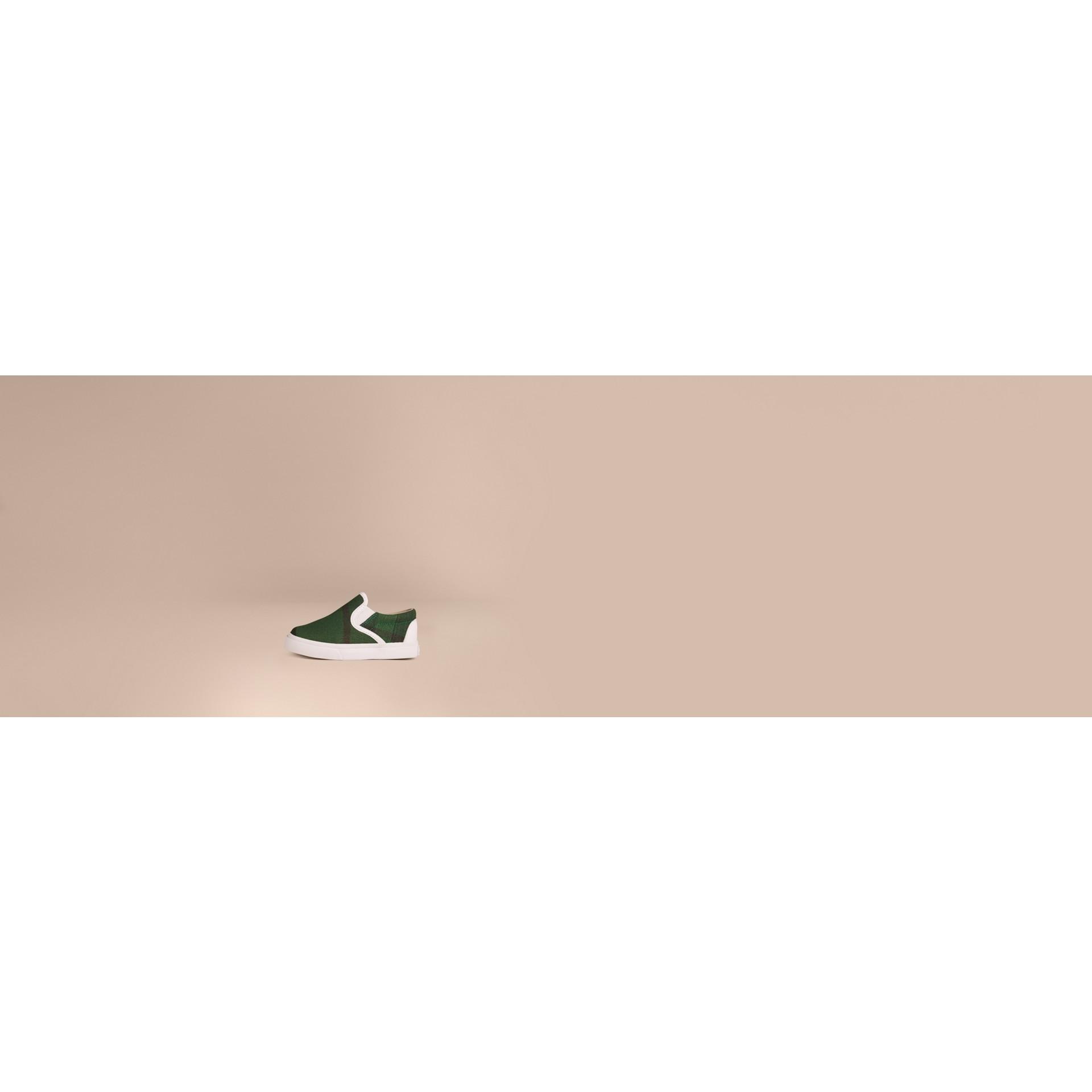 Verde jade intenso Tênis sem cadarço com padrão Canvas check - galeria de imagens 2