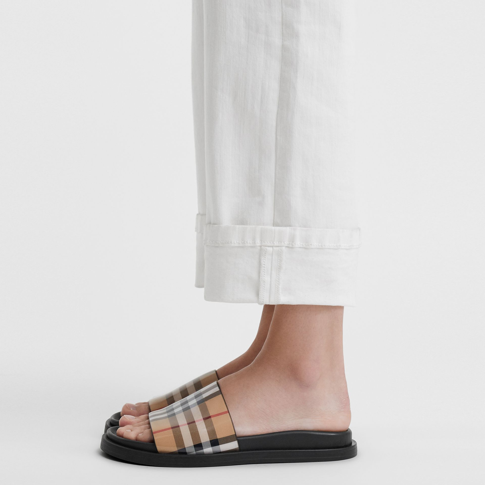 Vintage Check and Leather Slides in Antique Yellow - Women | Burberry Singapore - gallery image 2