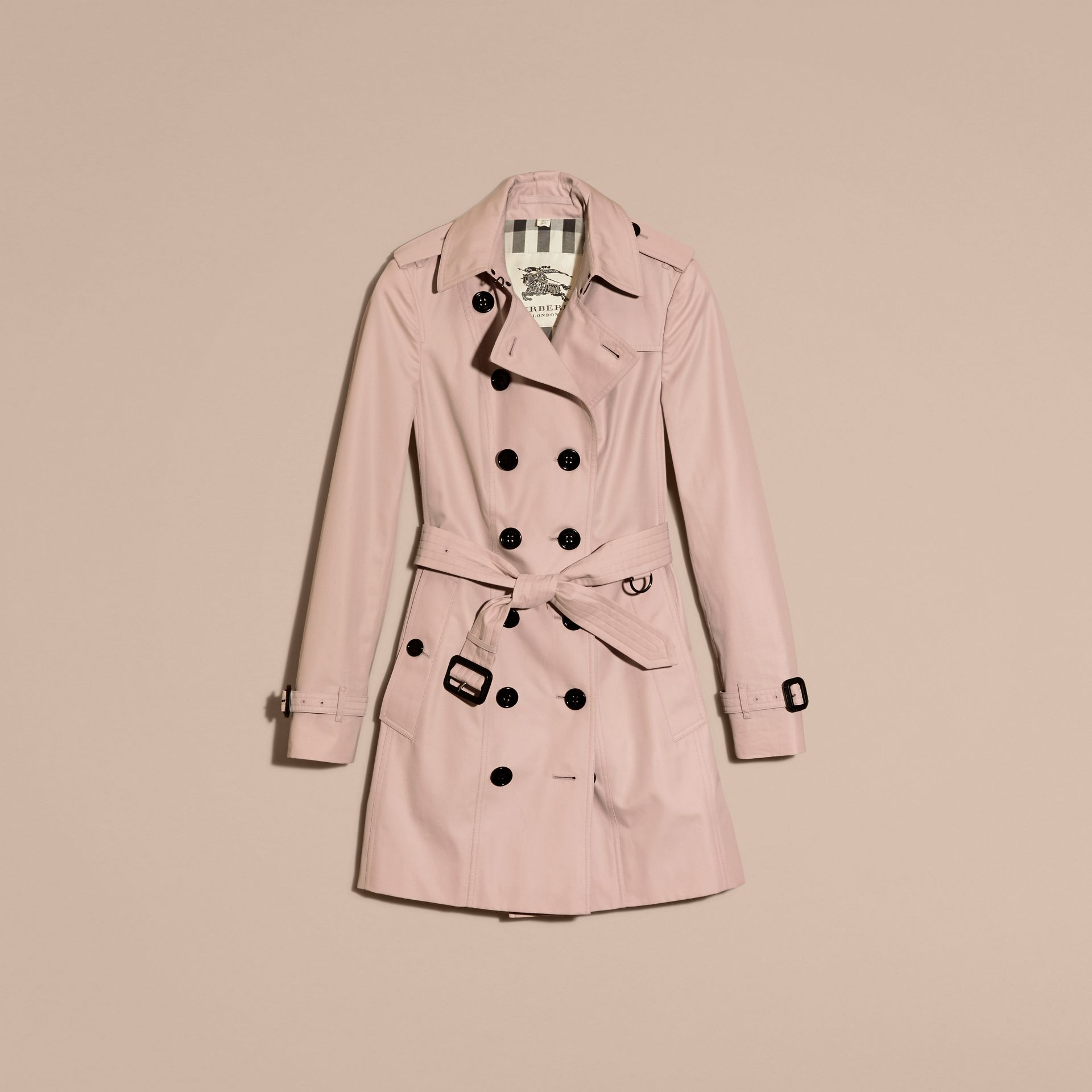 Cotton Gabardine Mid-length Trench Coat in Ice Pink - Women | Burberry Singapore - gallery image 4