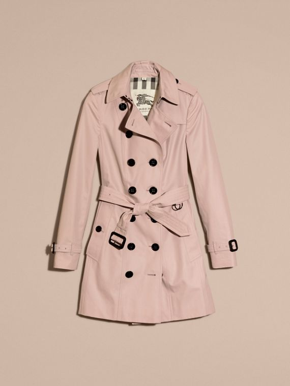 Cotton Gabardine Mid-length Trench Coat in Ice Pink - Women | Burberry - cell image 3