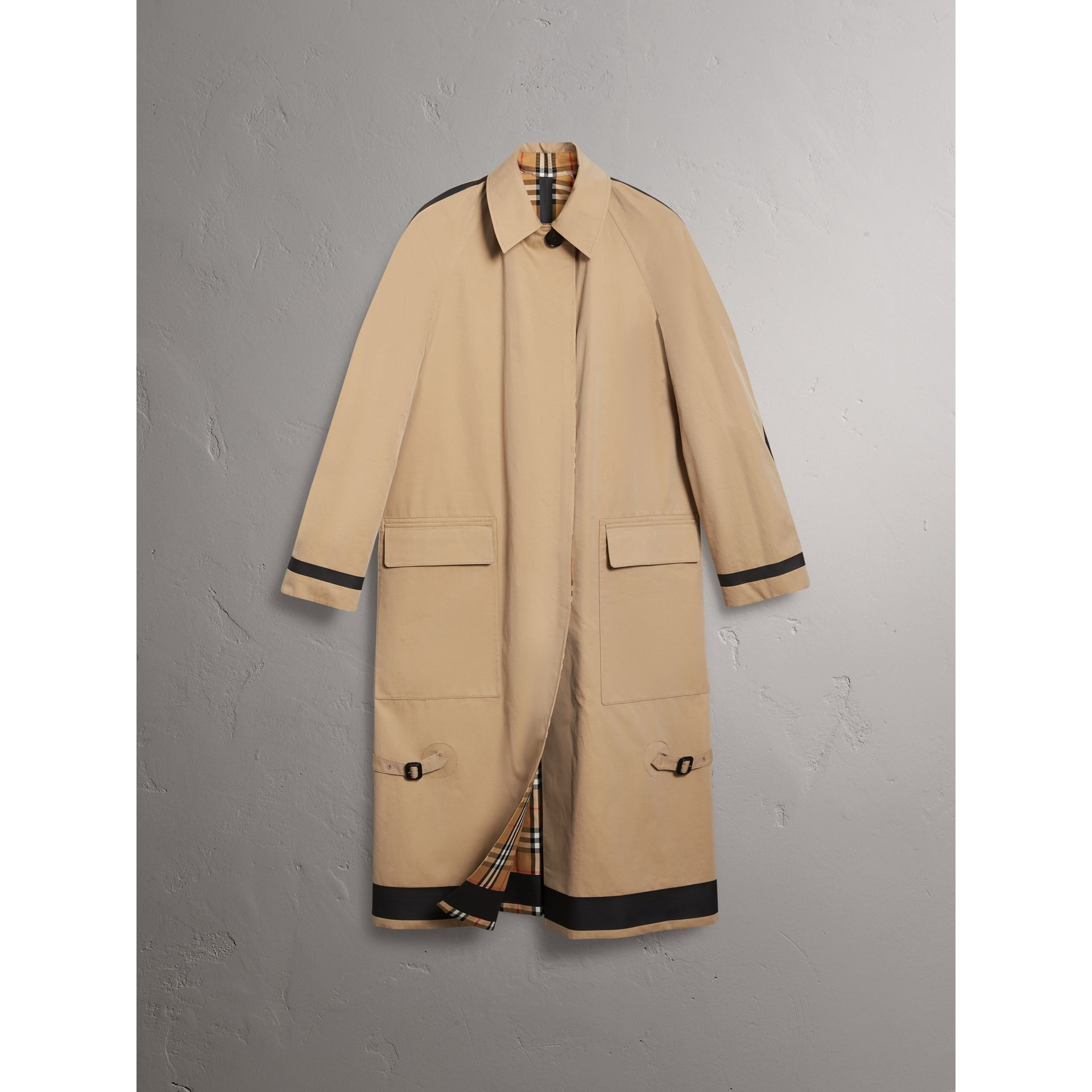 Reversible Vintage Check Gabardine Car Coat in Antique Yellow - Women | Burberry Australia - gallery image 6