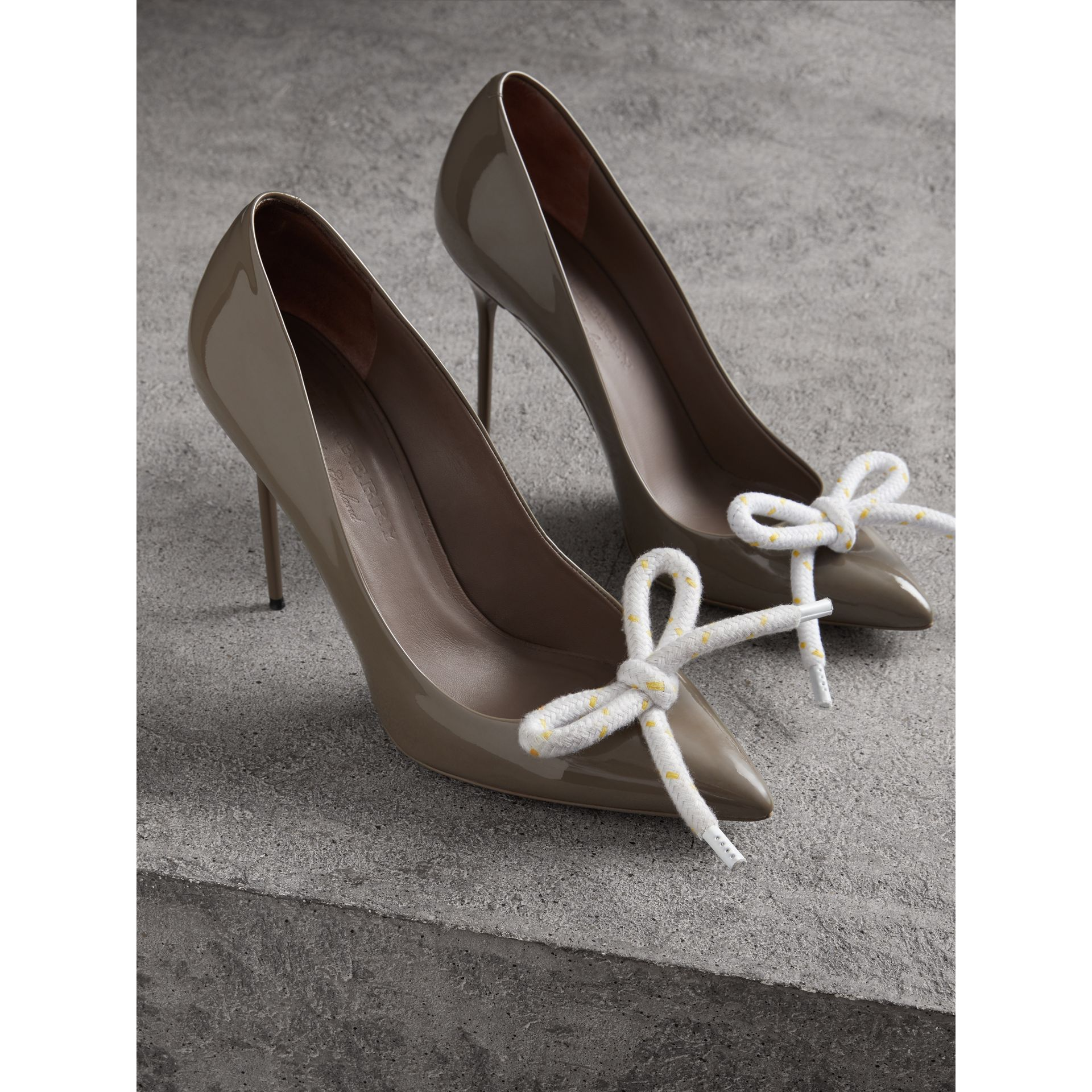 The Patent Leather Rope Stiletto in Taupe Grey - Women | Burberry - gallery image 4