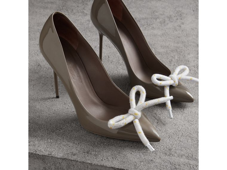 The Patent Leather Rope Stiletto in Taupe Grey - Women | Burberry - cell image 4